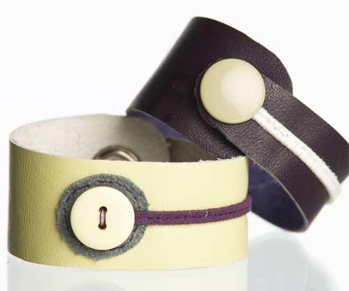 Bracelets Chikiboom en cuir et boutons récupérés